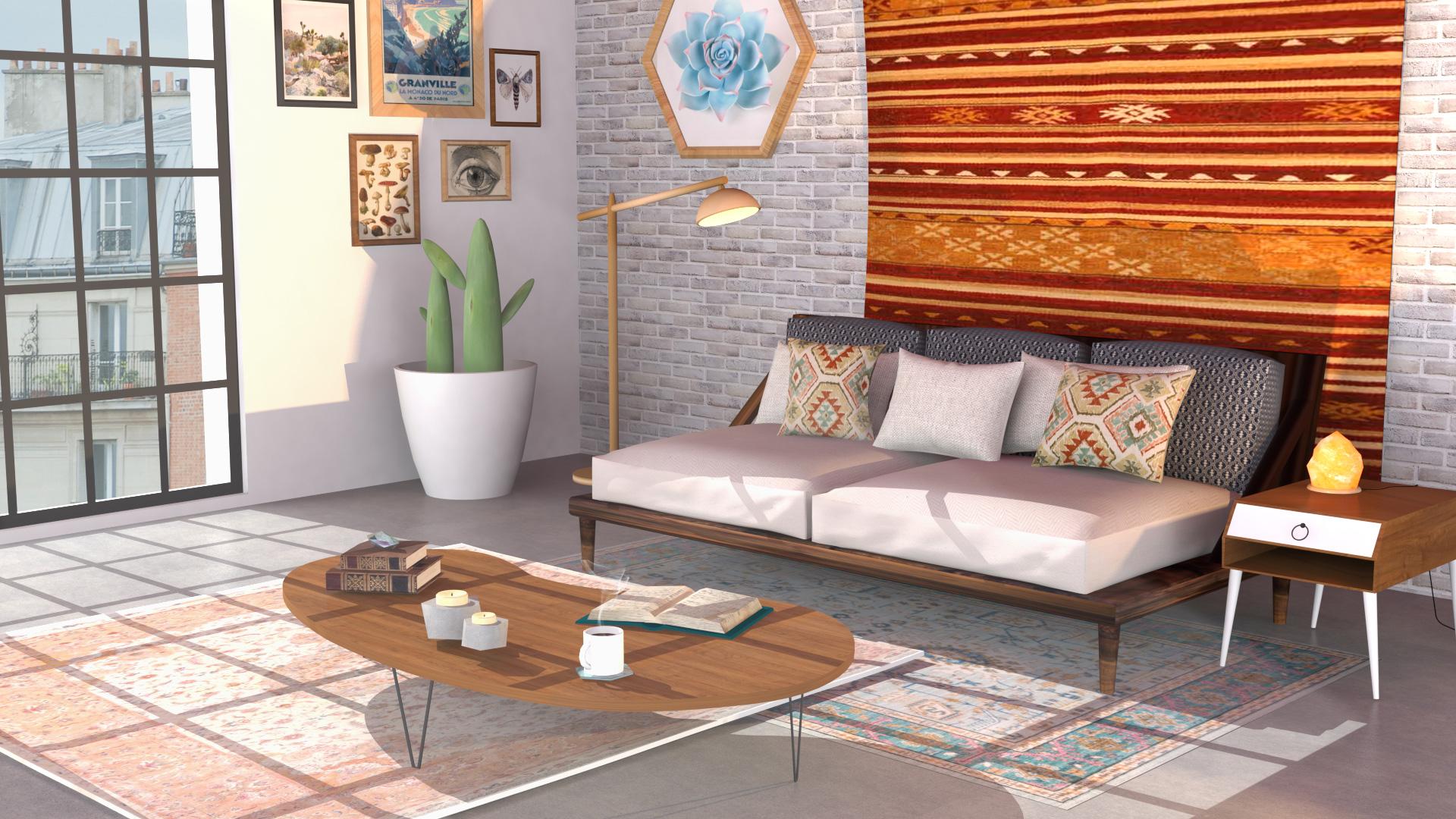 Modélisation 3D Pièce d'intérieur salon