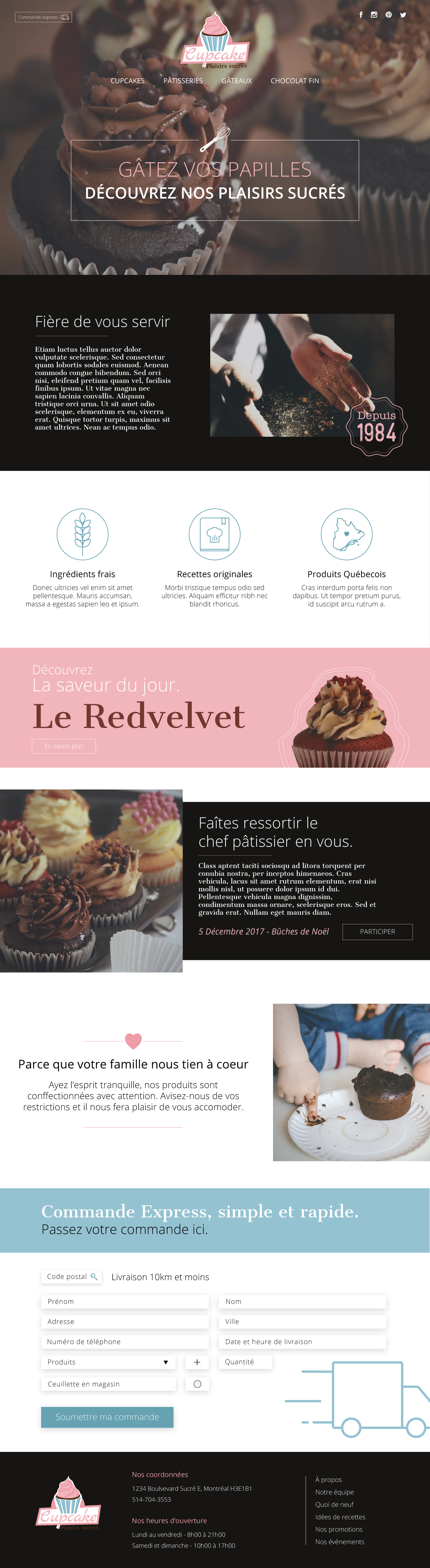Page d'accueil Cupcake