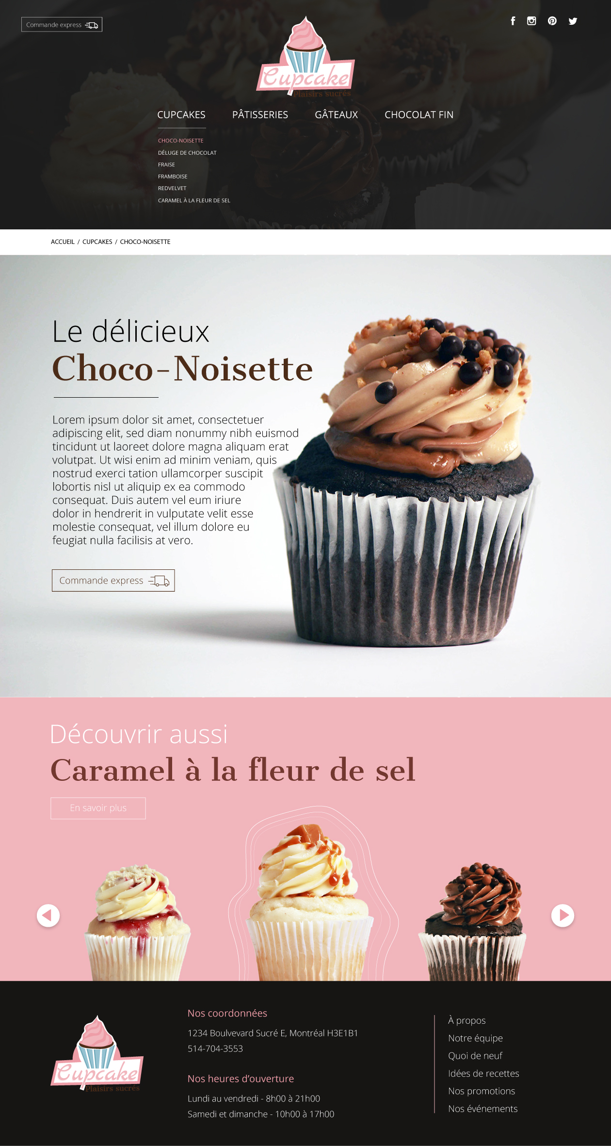 Page d'info d'un cupcake