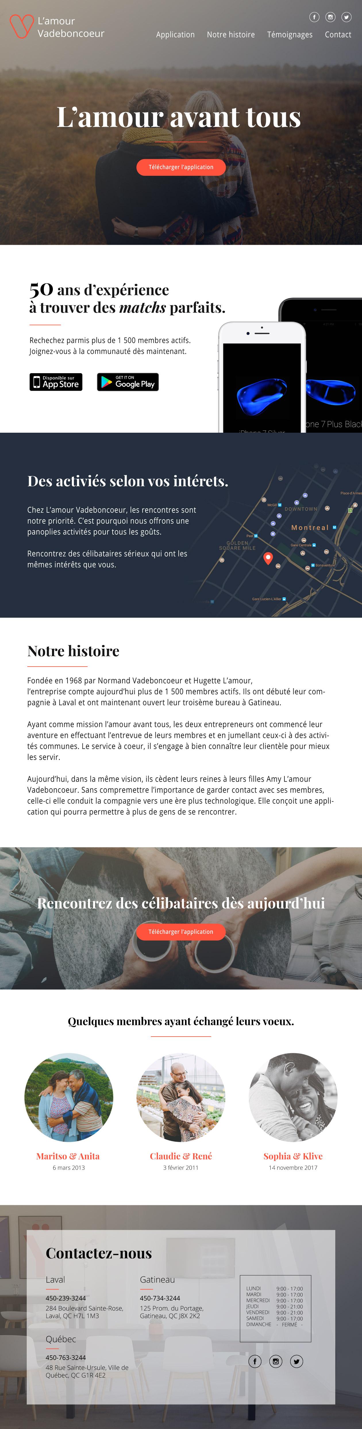 Landing page Application mobile de Rencontre